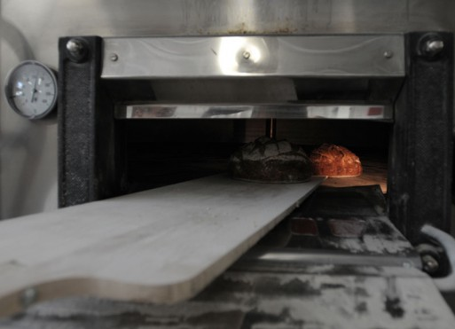 Our bread in the oven